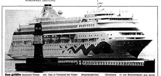 AIDA Erstanlauf am 6. Juni 1996 in Rostock
