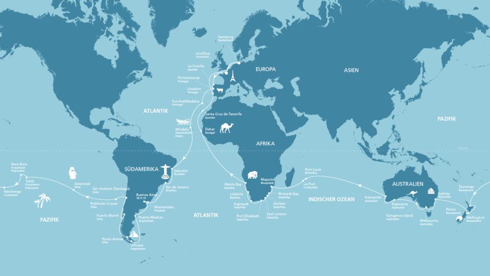 AIDA Weltreise Route 2019/2020. Foto: AIDA Cruises