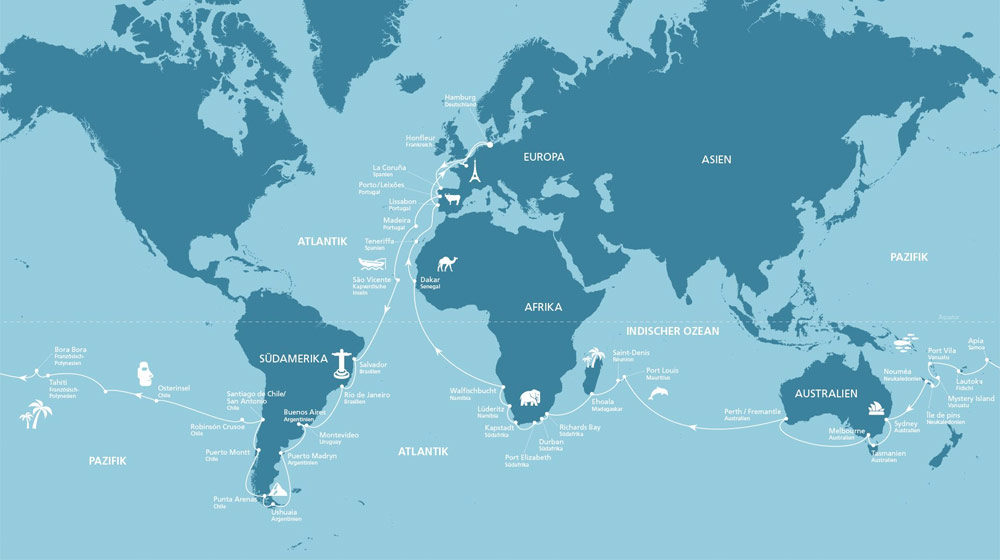 AIDA Weltreise Route 2018/2019. Foto: AIDA Cruises