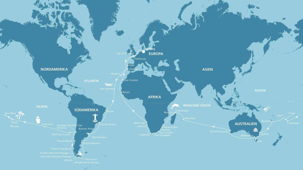 AIDA Weltreise Route 2020/2021