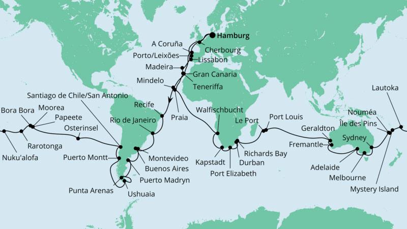 AIDA Weltreise Route 2022/2023
