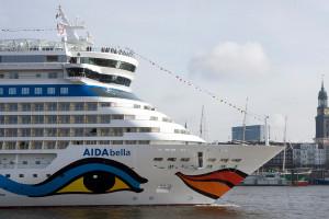 AIDAbella im Hamburger Hafen. Foto: AIDA Cruises