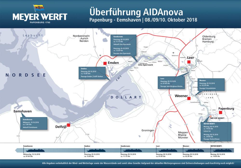 AIDAnova Überführungsplan der Meyer Werft