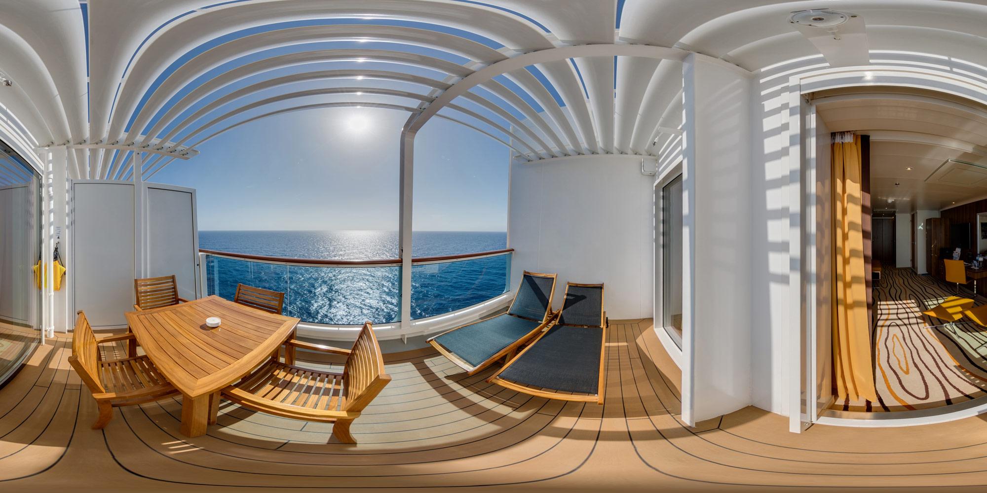 AIDAperla Suite mit Sonnendeck. Foto: Inside View