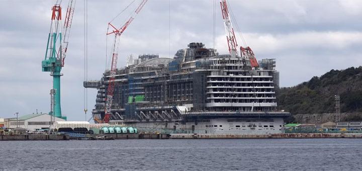AIDAperla auf der Werft in Nagasaki. Foto: inselvideo