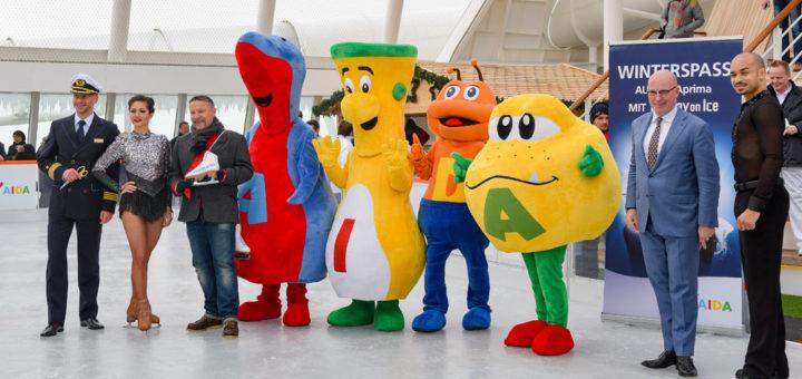 Eröffnung der Eislaufbahn von AIDAprima. Foto: AIDA Cruises