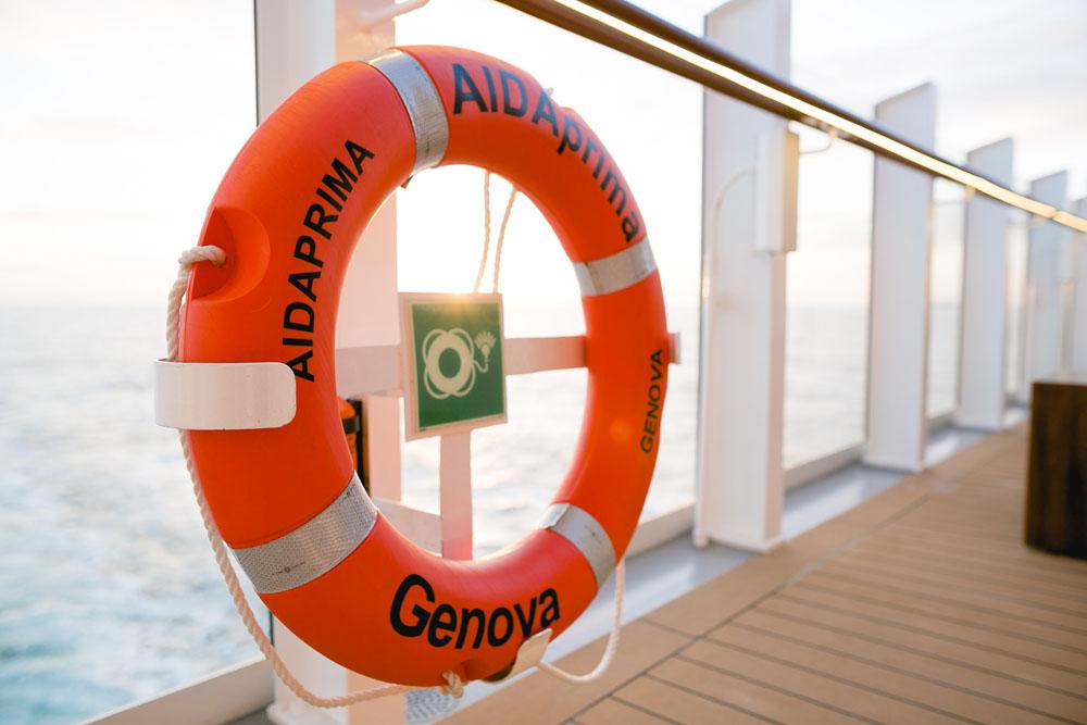 AIDAprima Rettungsring Foto: Mister & Misses Do / Kreuzfahrtpiraten
