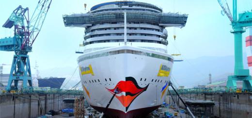 AIDAprima Kussmund auf der Werft in Japan. Foto: AIDA Cruises