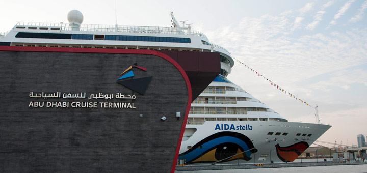 AIDAstella am Cruise Terminal in Abu Dhabi. Foto: AIDA Cruises