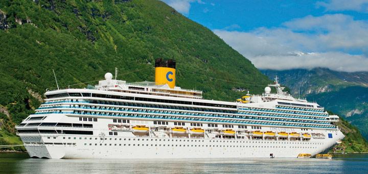 Costa Fortuna im Geirangerfjord in Norwegen. Foto: Costa Kreuzfahrten