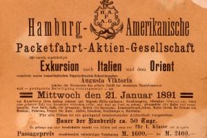 Werbeanzeige für Exkursion nach Italien mit dem Orient am 21. Januar 1891