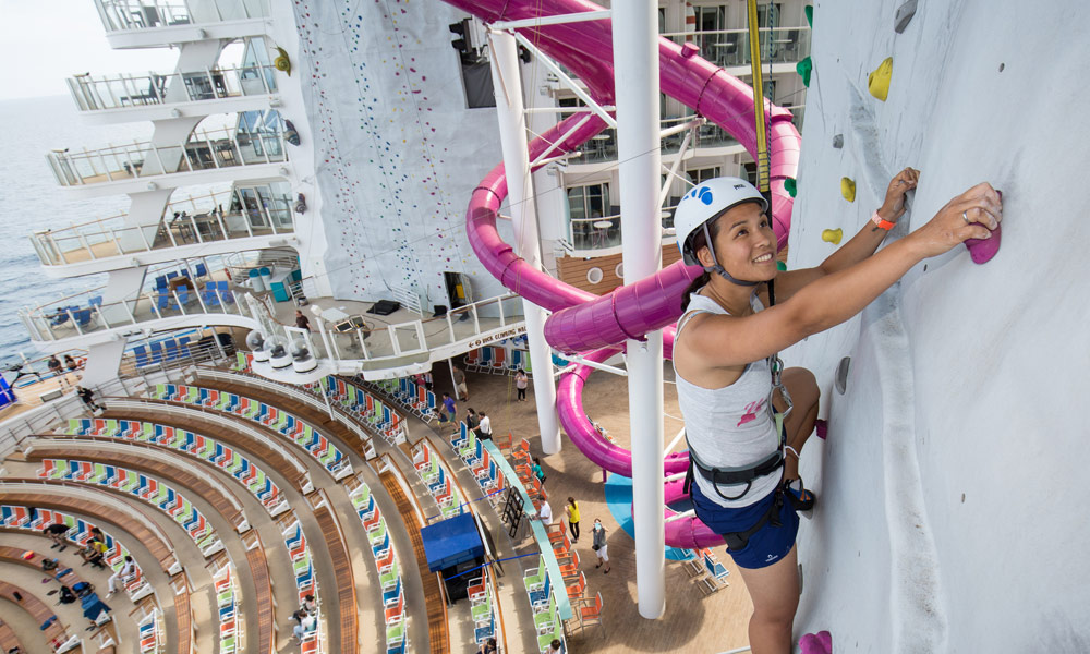 Kletterwand auf der Harmony of the Seas. Foto: Royal Caribbean International