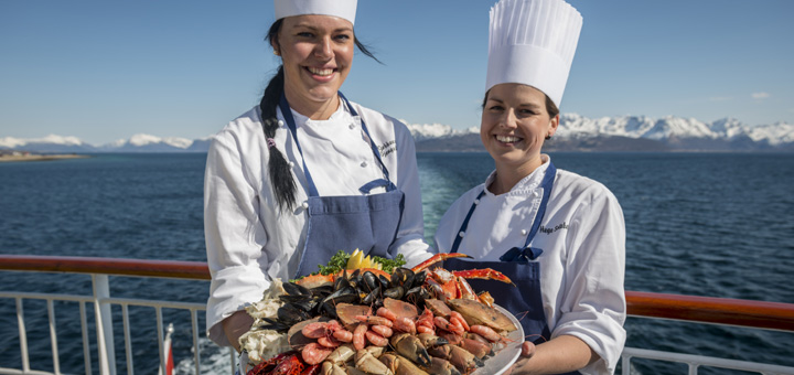 Kulinarik aus dem Meer auf einer Hurtigruten Kreuzfahrt. Foto: Hurtigruten