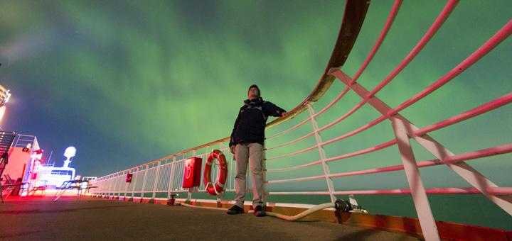 Polarlicht auf einer Hurtigruten Kreuzfahrt. Foto: Hurtigruten