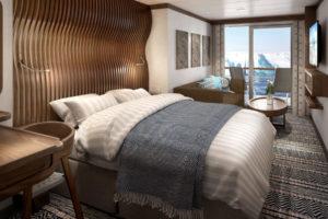 Balkonkabine auf der Roald Amundsen von Hurtigruten. Foto: Hurtigruten