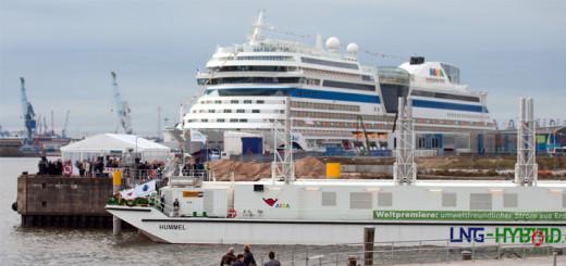 AIDAsol wird in Hamburg mit Strom aus LNG Hybrid Barge beliefert. Foto: AIDA Cruises