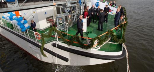 LNG Hybrid Barge bei der Taufe im Hamburg. Foto: AIDA Cruises