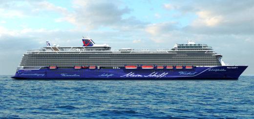Außenansicht der neuen Mein Schiff 1. Foto: TUI Cruises