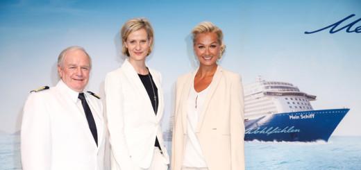 Kjell Holm, Wybcke Meier und Franziska van Almsick bei der Taufe der Mein Schiff 4. Foto: Franziska Krug / TUI Cruises