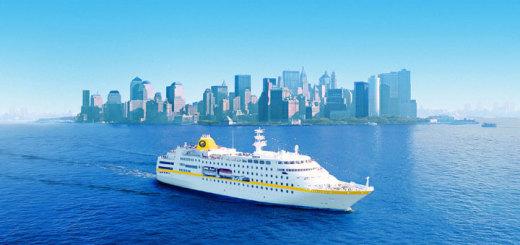 MS Hamburg vor New York. Foto: PLANTOURS Kreuzfahrten