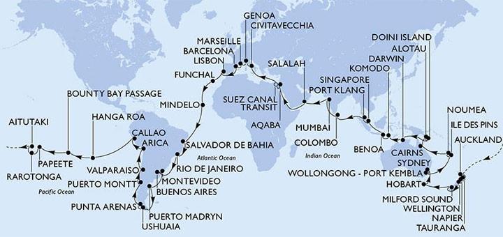 Route der MSC Weltreise 2020. Foto: MSC Kreuzfahrten