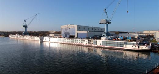 Neue Flusskreuzfahrtschiffe für Viking River Cruises an der Neptun Werft in Warnemünde. Foto: Neptun Werft