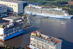 Quantum of the Seas in Papenburg ausgedockt. Foto: Meyer Werft