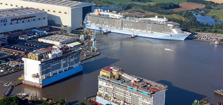 Quantum of the Seas in Papenburg ausgedockt. Foto: Meyer Werft