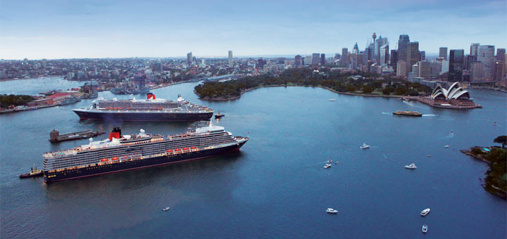Queen Mary 2 und Queen Elizabeth in Sydney. Foto: Cunard Line