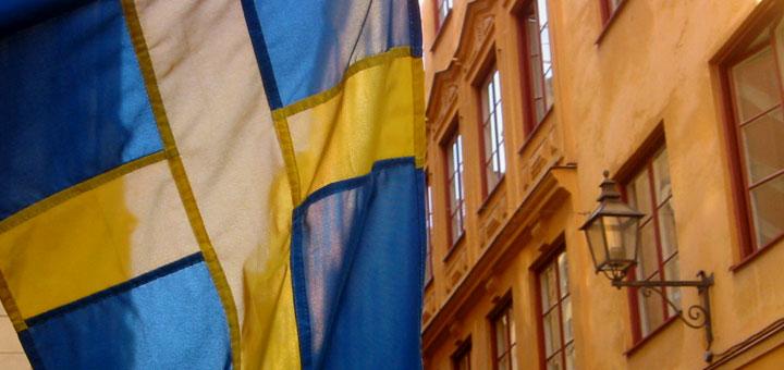 Schweden-Fahne in Stockholm. Foto: Martin Schuster / Kreuzfahrtpiraten